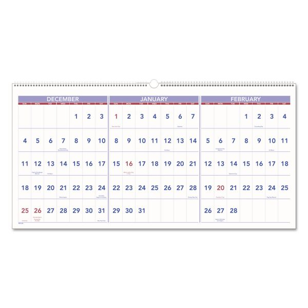 AT-A-GLANCE Horizontal-Format Three-Month Reference Wall Calendar, 23 1/2 x 12, 2019