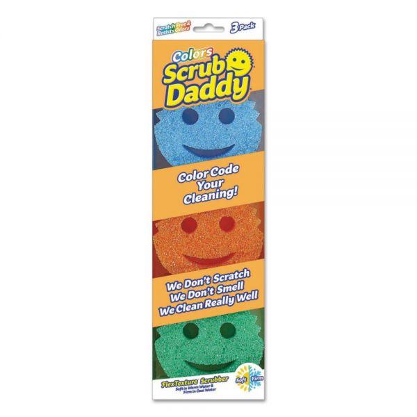 Scrub Daddy Scratch-Free Scrubbing Sponge, Round, 4 x 6 x 1 1/2, Assorted, 3/Pack