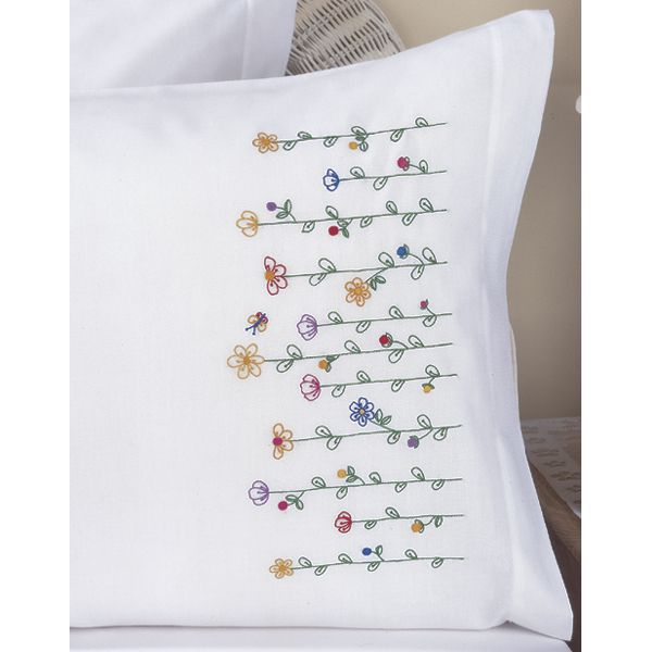Bucilla Stamped Embroidery Pillowcases