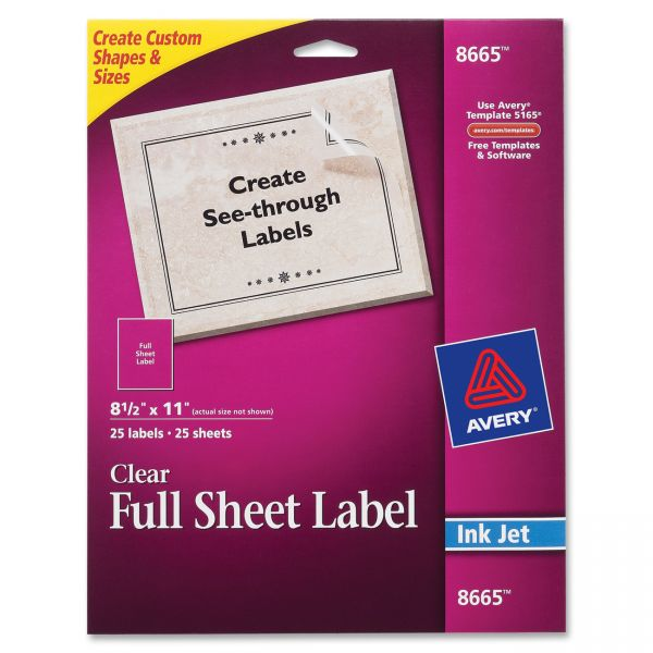 Avery Matte Clear Shipping Labels, Inkjet, 8 1/2 x 11, 25/Pack