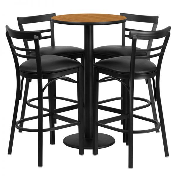 Flash Furniture 24'' Round Natural Laminate Table Set with 4 Ladder Back Metal Barstools - Black Vinyl Seat