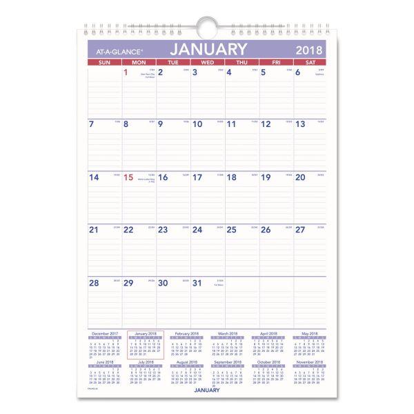 AT-A-GLANCE Erasable Wall Calendar, 12 x 17, White, 2018