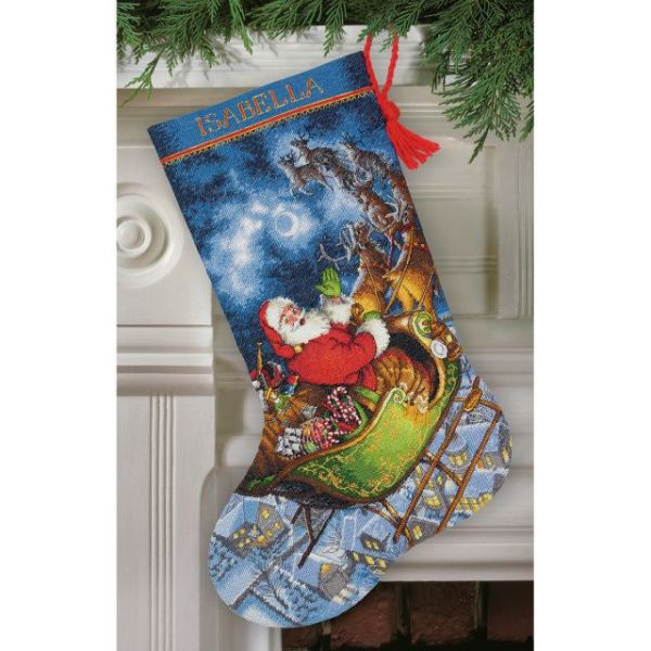 Gold Collection Santa's Flight Stocking Counted Cross Stitch Kit