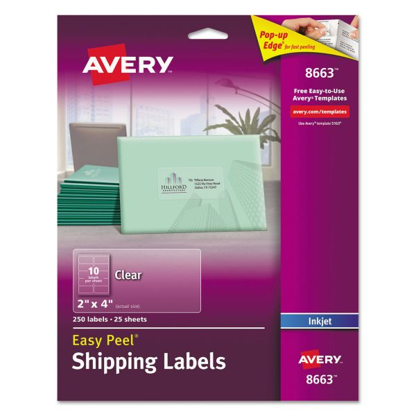 Avery Matte Clear Easy Peel Shipping Labels, Inkjet, 2 x 4, 250/Pack