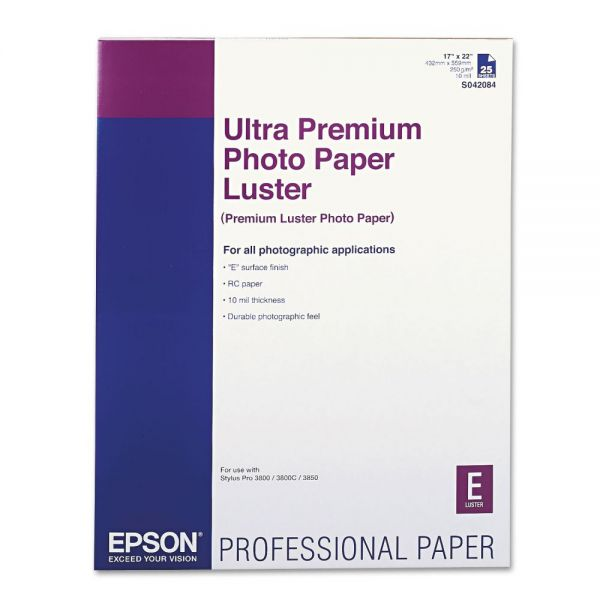 Epson Ultra Premium Photo Paper, Luster, 17 x 22, 25 Sheets/Pack