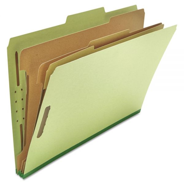 Universal Pressboard Classification Folder, Legal, Eight-Section, Green, 10/Box