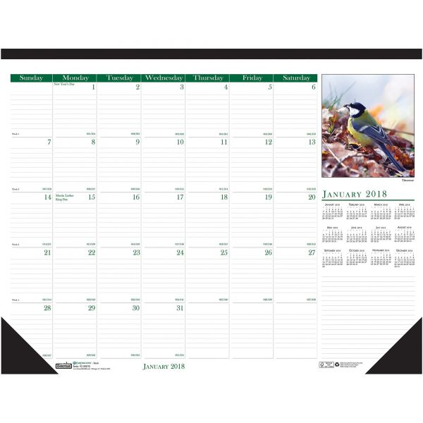 House of Doolittle Wild Birds Photographic Monthly Desk Pad Calendar