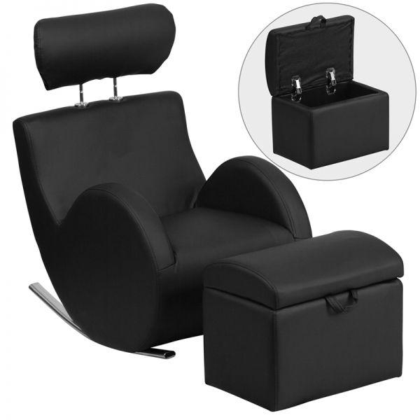 Flash Furniture HERCULES Series Black Vinyl Rocking Chair with Storage Ottoman