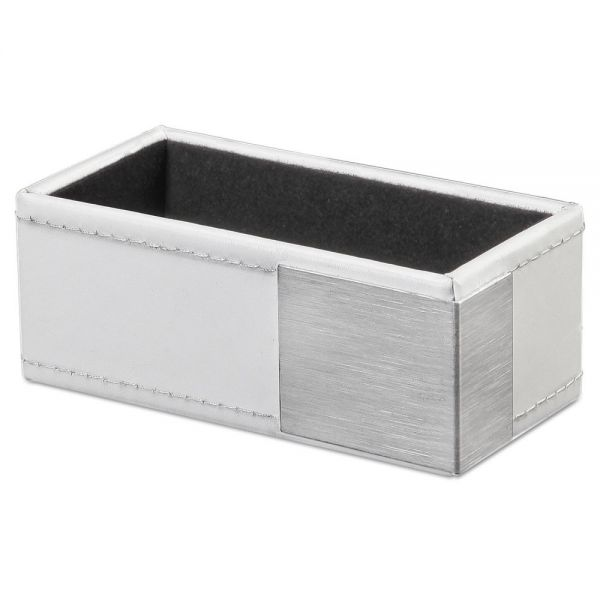 Artistic Architect Line Business Card Holder, Holds 50 2 x 3 1/2, White/Silver