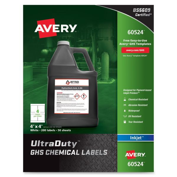 "Avery UltraDuty GHS Chemical Labels for Pigment Inket Printers, Waterproof, UV Resistant, 4""x 4"", 200 Pack (60524)"