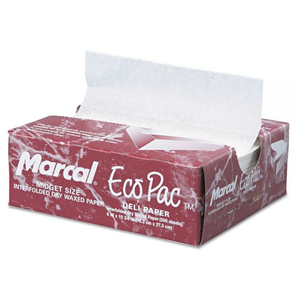 Marcal Eco-Pac Natural Interfolded Dry Waxed Deli Tissue Sheets