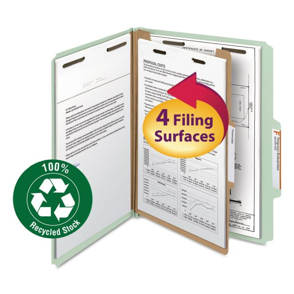 Smead 1-Divider Recycled Pressboard Classification File Folders