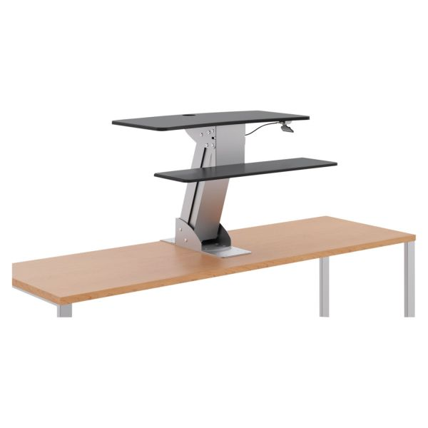 HON Directional Desktop Sit-to-Stand Riser without Monitor Arm, Silver/Black