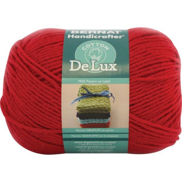Bernat Handicrafter DeLux Cotton Yarn - Poppy Red