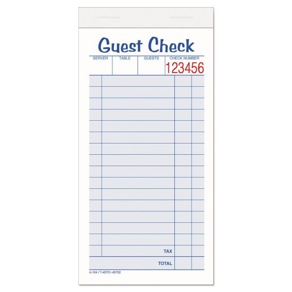 Adams Guest Check Unit Set, Carbonless Duplicate, 6 7/8 x 3 3/8, 50 Forms, 10/Pack