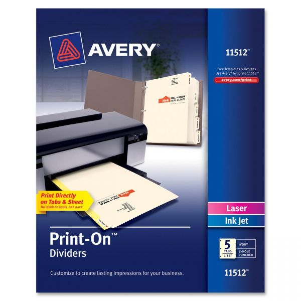 Avery Print-On 5-Tab Dividers
