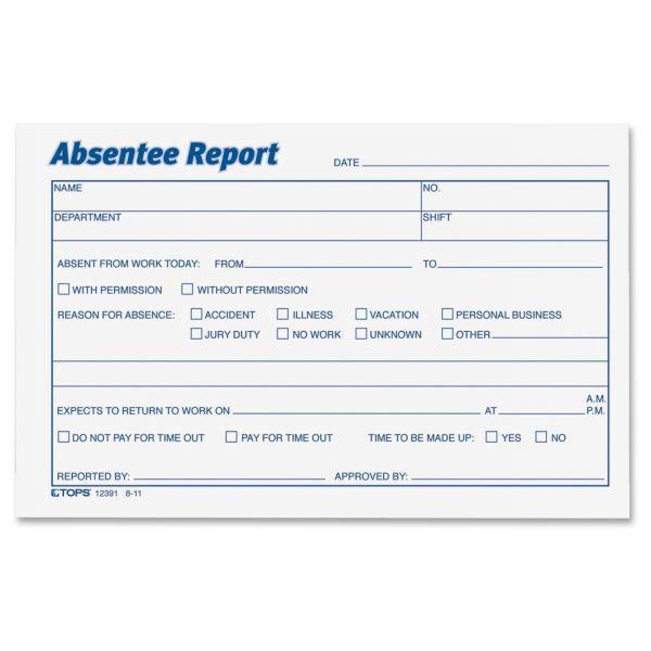TOPS Absentee Report Form
