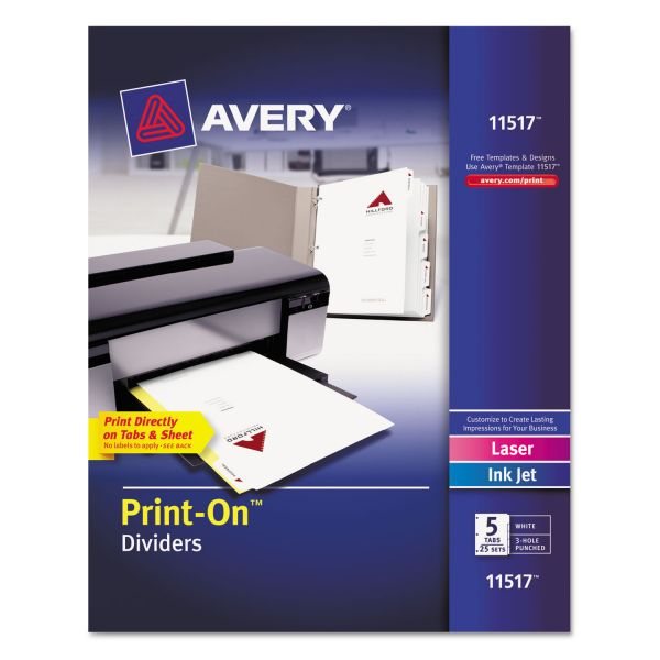 Avery Customizable Print-On Dividers, Letter, 5-Tabs/Set,  25 Sets/Pack