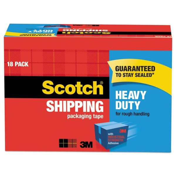 """Scotch 3850 Heavy-Duty Packaging Tape Cabinet Pack, 1.88"""" x 54.6yds, 3"""" Core, 18/Pack"""