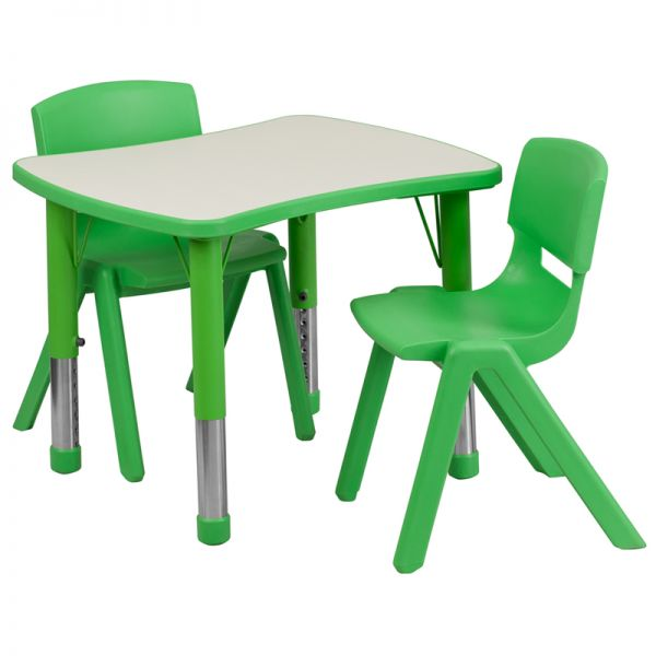 Flash Furniture 21.875''W x 26.625''L Adjustable Rectangular Green Plastic Activity Table Set with 2 School Stack Chairs