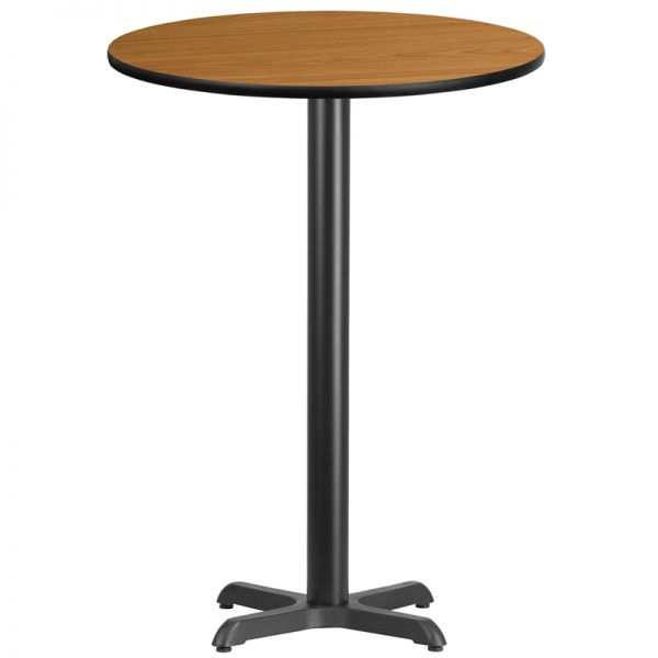 Flash Furniture 30'' Round Natural Laminate Table Top with 22'' x 22'' Bar Height Table Base