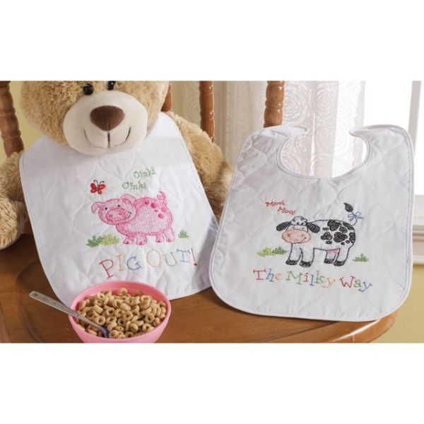 On The Farm Bibs Stamped Cross Stitch Kit