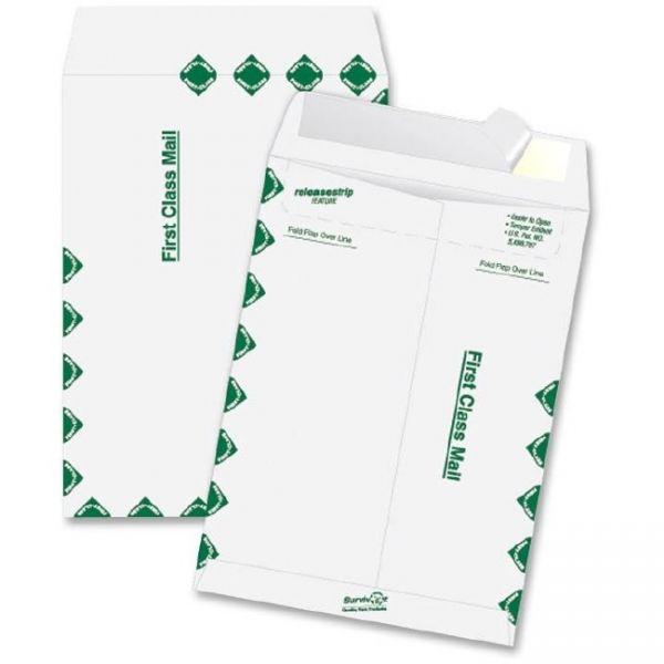 Survivor Tyvek USPS First Class Mailer, #55, 6 x 9, White, 100/Box