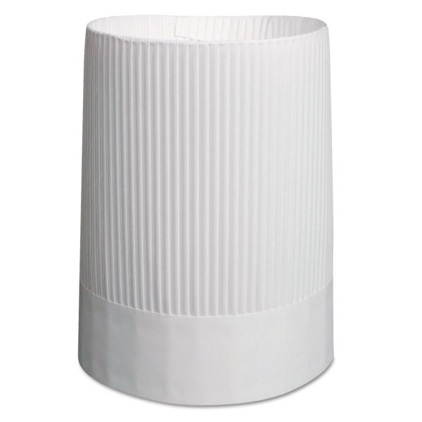 Royal Stirling Fluted Chef's Hats, Paper, White, Adjustable, 10 in Tall, 12/Carton
