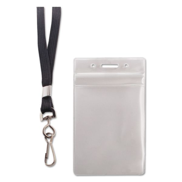Advantus Resealable ID Badge Holder, Lanyard, Vertical, 2 5/8 x 3 3/4, Clear, 20/Pack