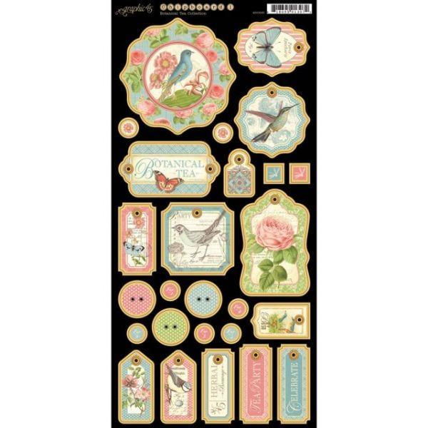 "Botanical Tea Chipboard Die-Cuts 6""X12"" Sheet"