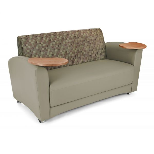 OFM OFM InterPlay Series Upholstered Guest / Reception Sofa, Plum/Taupe, Bronze Tablet