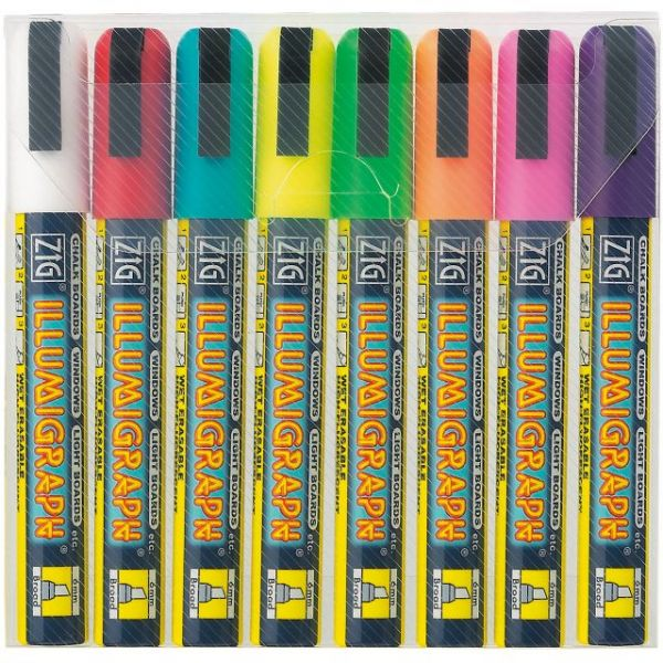 Zig Illumigraph 6mm Tip Markers 8/Pkg