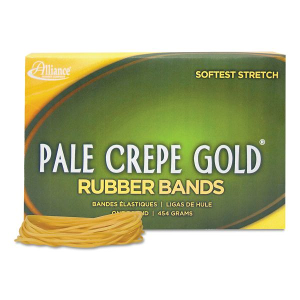 Alliance Pale Crepe Gold Rubber Bands, Sz. 19, 3-1/2 x 1/16, 1lb Box
