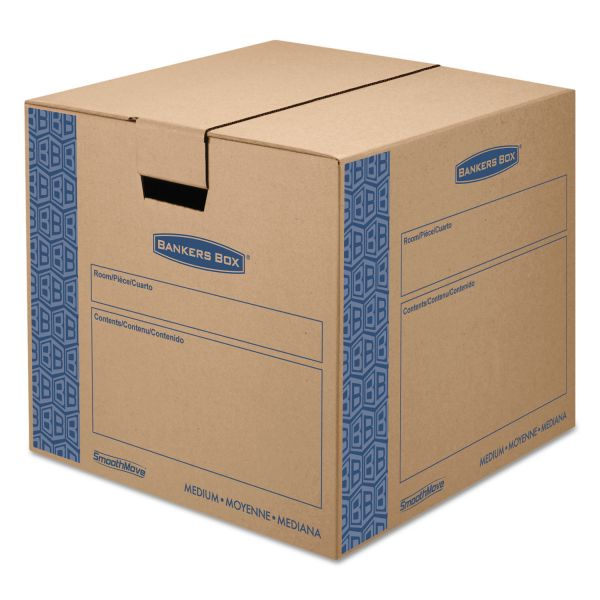 Bankers Box SmoothMove Prime Medium Moving Boxes, 18l x 18w x 16h, Kraft/Blue, 8/Carton