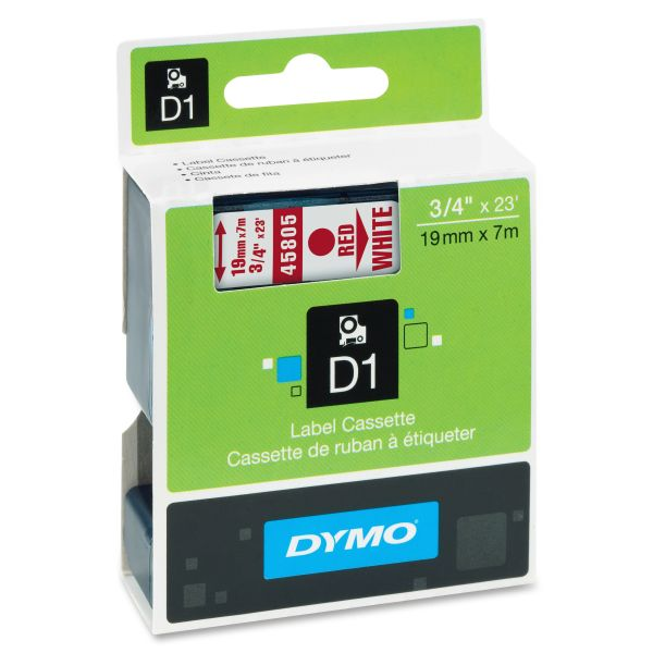 """DYMO D1 High-Performance Polyester Removable Label Tape, 3/4"""" x 23 ft, Red on White"""