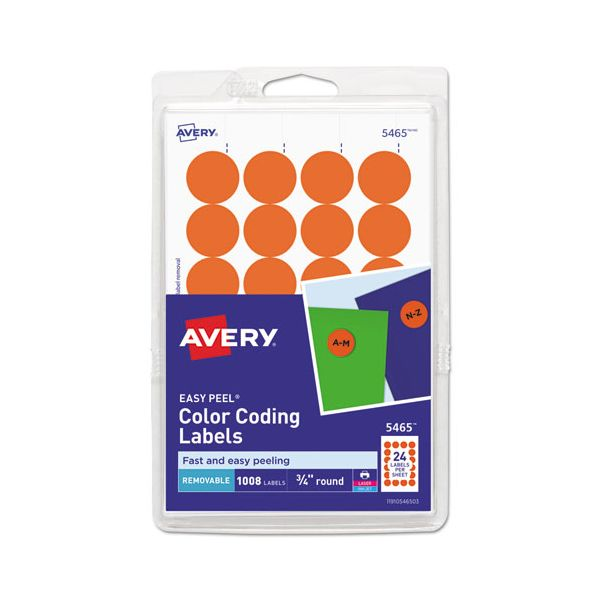 """Avery Printable Removable Color-Coding Labels, 3/4"""" dia, Orange, 1008/Pack"""