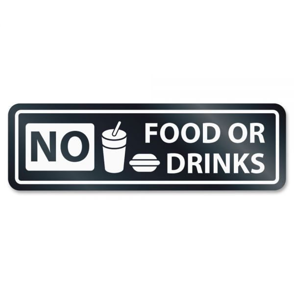 U.S. Stamp & Sign No Food Or Drinks Window Sign