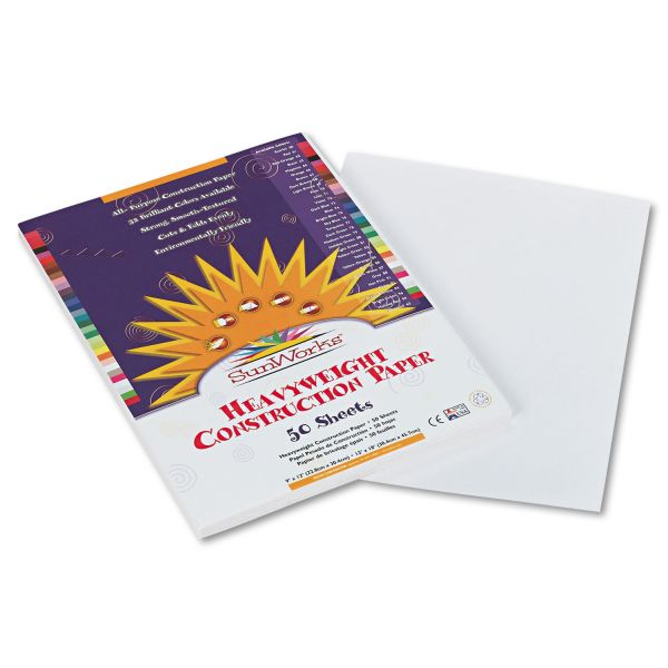SunWorks Construction Paper, 58 lbs., 9 x 12, White, 50 Sheets/Pack