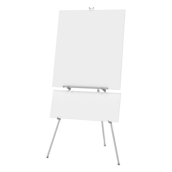 "Quartet Aluminum Heavy-Duty Display Easel, 38"" to 66"" High, Aluminum, Silver"