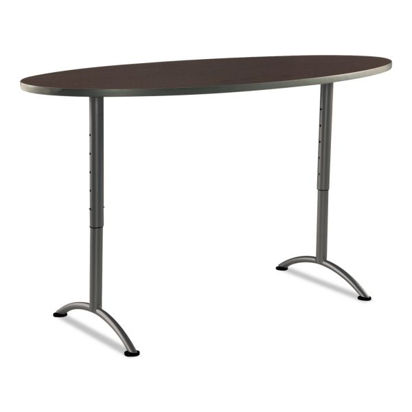 Iceberg ARC Sit-to-Stand Tables, Oval Top, 36w x 72d x 30-42h, Walnut/Gray