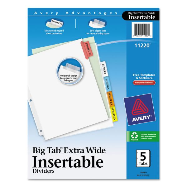 Avery WorkSaver Extra Wide Big Tab Index Dividers