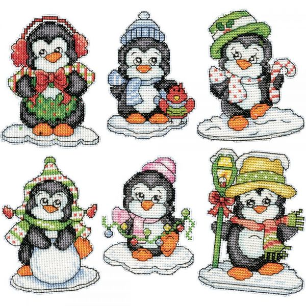 Penguins On Ice Ornaments Counted Cross Stitch Kit
