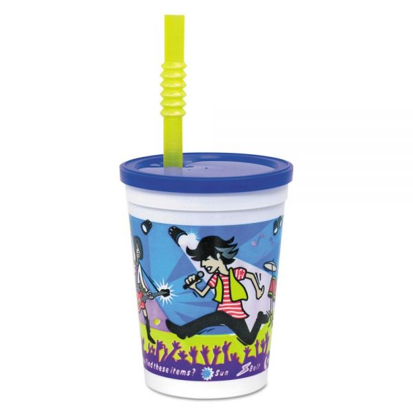 WNA Plastic Kids' Cups w/ Lids and Whistle Straws