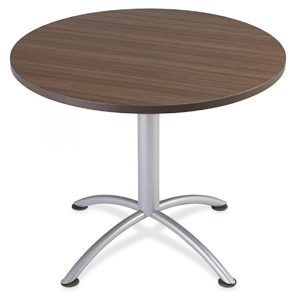"Iceberg iLand Table, Contour, Round Seated Style, 36"" dia. x 29"", Natural Teak/Silver"