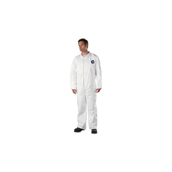 DuPont Tyvek Coveralls, Open Wrist/Ankle, HD Polyethylene, White, X-Large, 25/Carton