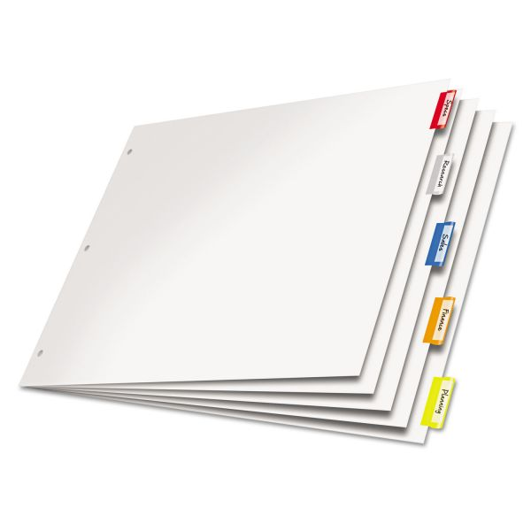 Cardinal Paper Insertable Dividers, 5-Tab, Multi-color Tab, 11 x 17, 1 Set