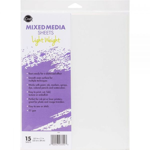 "iCraft Mixed Media Sheets 8.5""X11"" 15/Pkg"