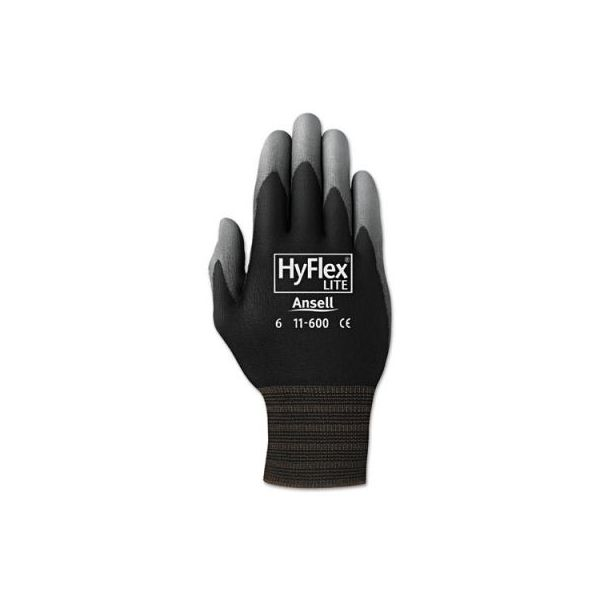 AnsellPro HyFlex Lite Gloves, Black/Gray, Size 10, 12 Pairs