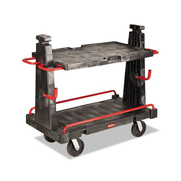 Rubbermaid Commercial A-Frame Panel Convertible Truck, 2000lb Cap, 27 1/4 x 50 1/4 x 49 1/2, Black/Red