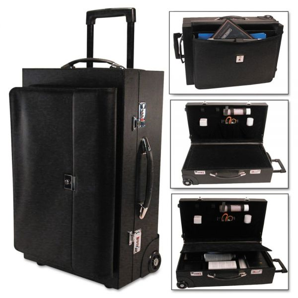 Bond Street, Ltd. Rolling Sample/Catalog Case, 14 1/4 x 23 1/2 x 11 1/4, With Locks, Koskin, Black